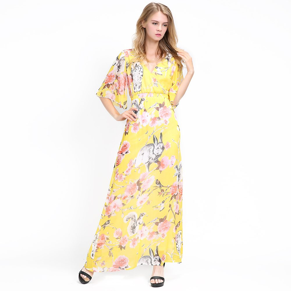 Women Plus Size Bell Sleeve V Neck Yellow Floral Animal Printed Long  Chiffon Dress