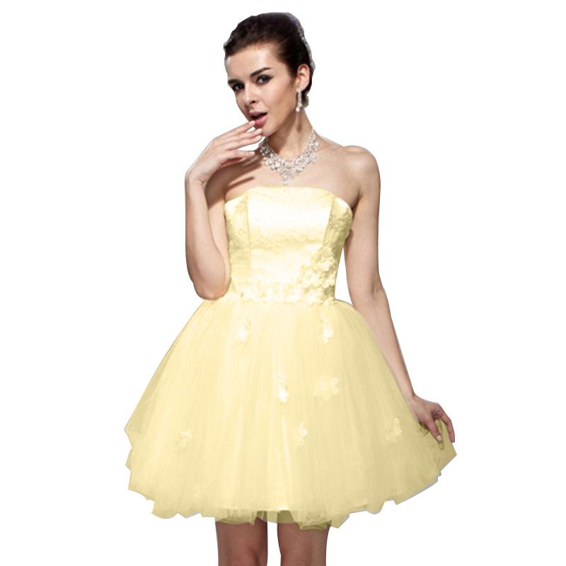 Princess Pleasant Tulle Applique Mini Evening Gown Strapless ...