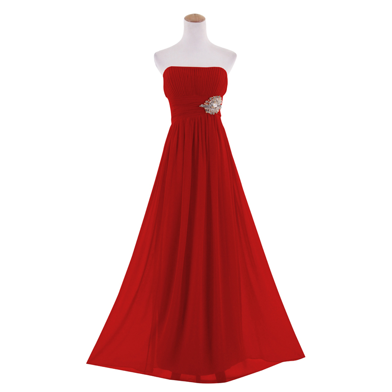 Classic Racy Strapless Straight Neckline Beading Formal Evening Gown ...