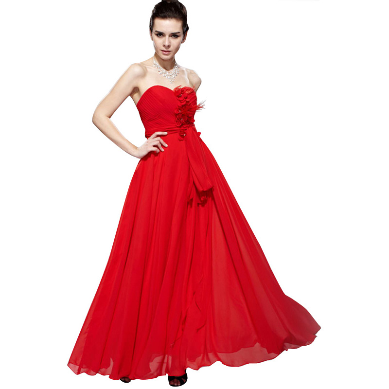 A Line Chiffon Swing Empire Waist Evening Gown Regular/Plus Size Long Prom Dress