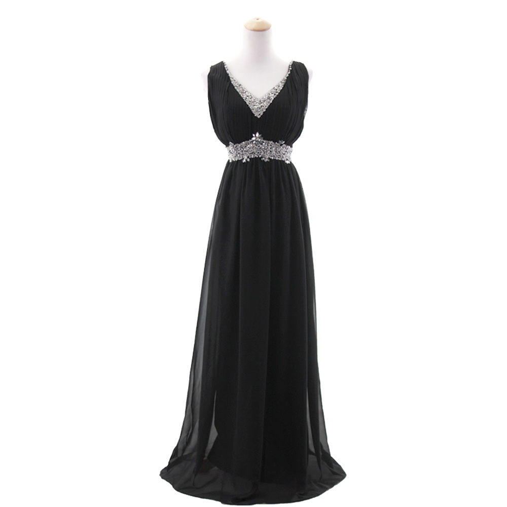 Chiffon A-Line Bridesmaid Dress Crystal Beaded Formal Evening Gown ...