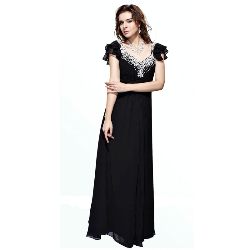 Women Ruffle Butterfly Sleeve V-Neck A-Line Regular/Plus Size Formal  Evening Prom Dress