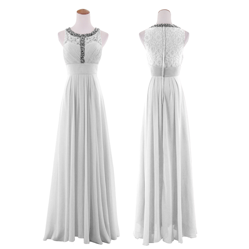 Women Sleeveless Lace Beaded Chiffon Regular/Plus Size Sheer Evening ...