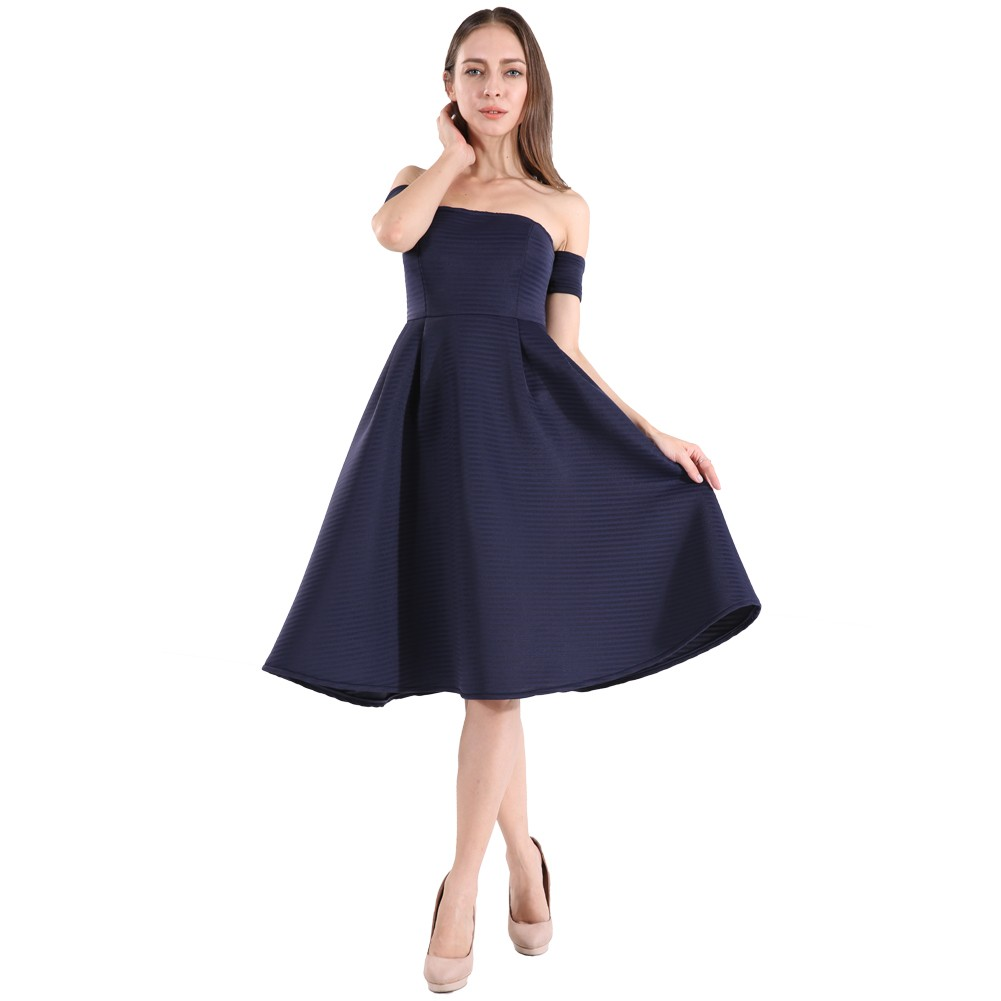 7da27baed59 Women Navy Blue Elegant Formal Prom Evening Vintage Fit and Flare ...