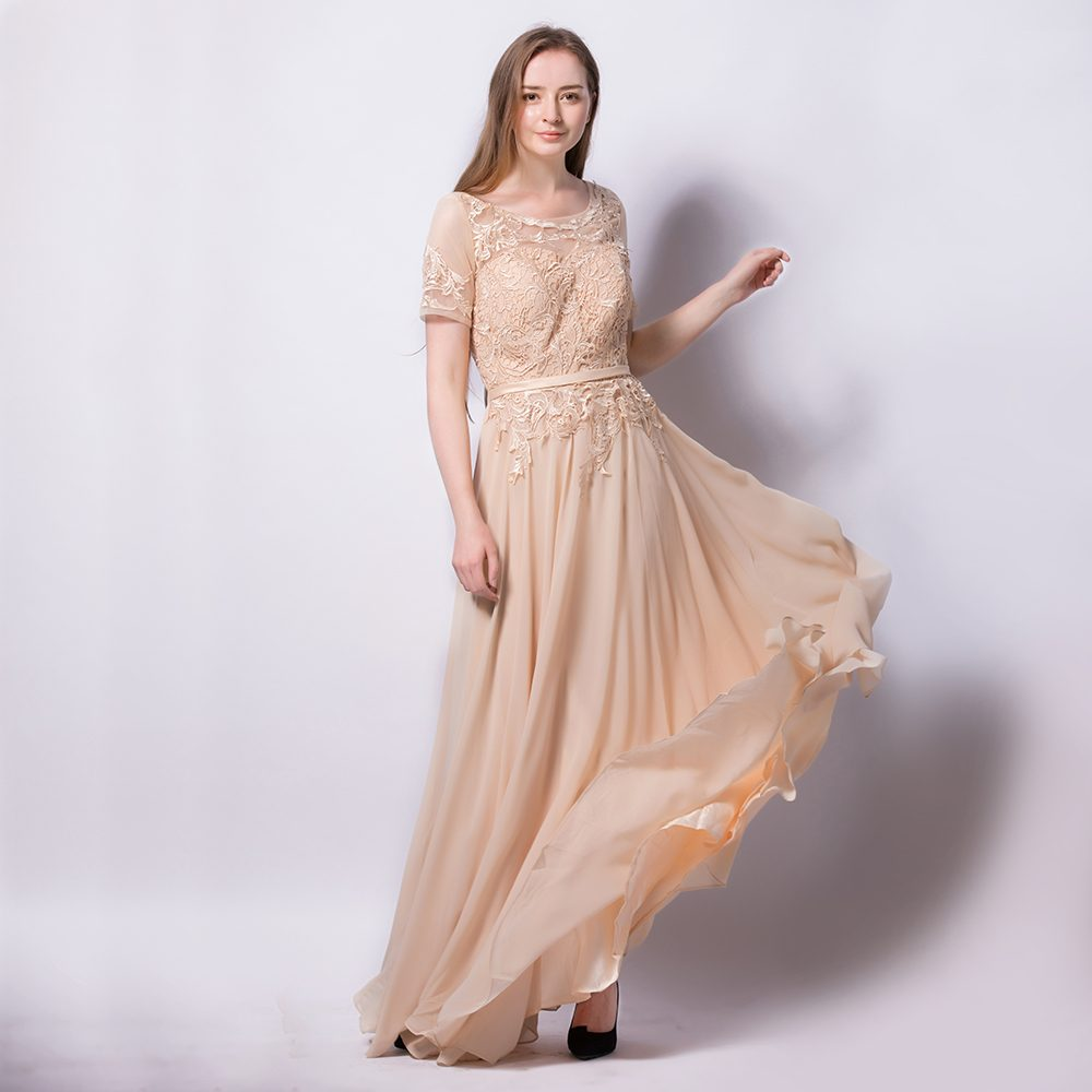 Beige Chiffon Floral Lace Applique Wedding Evening Prom A-Line Dress ... ed087599f