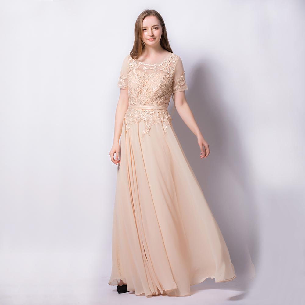 83906bfbfec Beige Chiffon Floral Lace Applique Wedding Evening Prom A-Line Dress ...