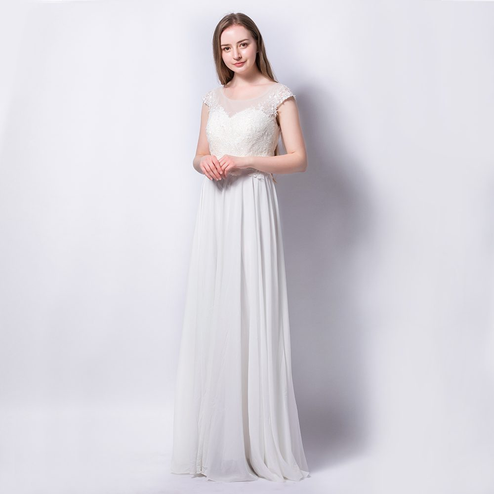 Embroidered Lace Cap Sleeve Wedding Bridesmaid Party Chiffon Dress ...