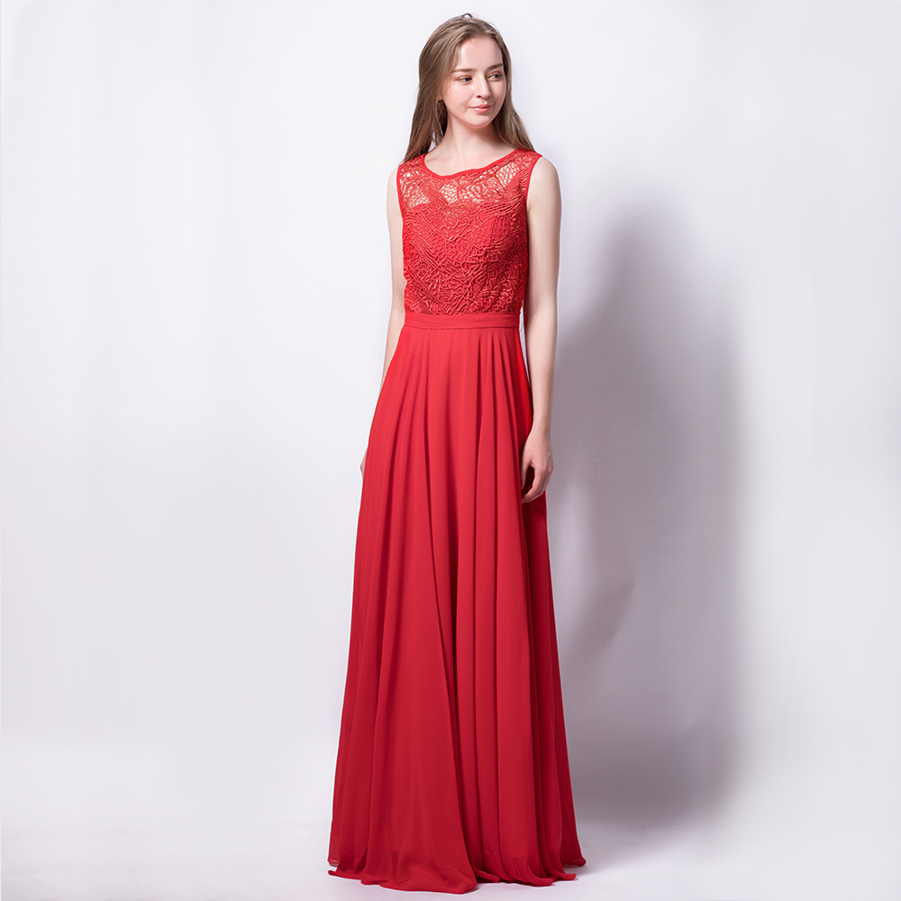 464e5938a03 Round Neck Floor Length Chiffon Bridesmaid Dress With Embroidered ...