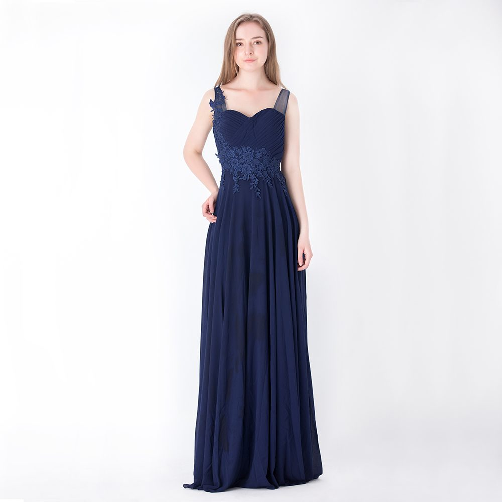 Sweetheart Neckline Chiffon Evening Gown Wedding Bridesmaid A-Line ...