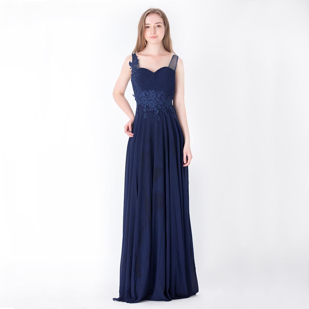 Sweetheart Neckline Chiffon Evening Gown Wedding Bridesmaid A-Line ...