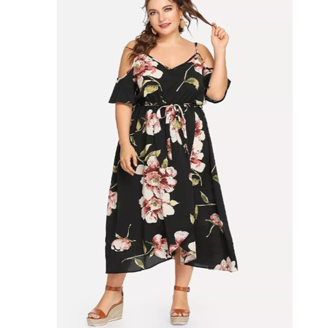 f15908e6d785 Sexy Cold Shoulder Floral Printed Cocktail Party A Line Maxi Dress ...