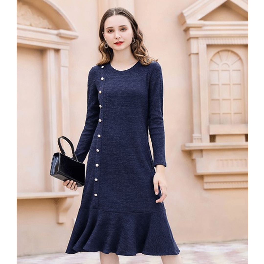 Women Navy Blue Slimming Ruffle Hem Tunic Plus Size Winter Dress ...