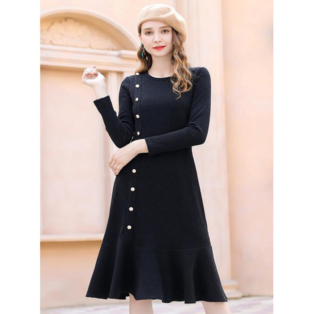 6668e7d4fbb Black Plus Size Vintage Buttons Long Sleeve Ruffle Hem Tunic Winter ...