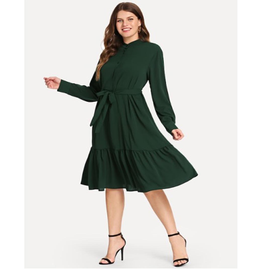 d84f3e59295d Women Army Green Long Sleeve Ruffle Hem Belted A Line Dress ...