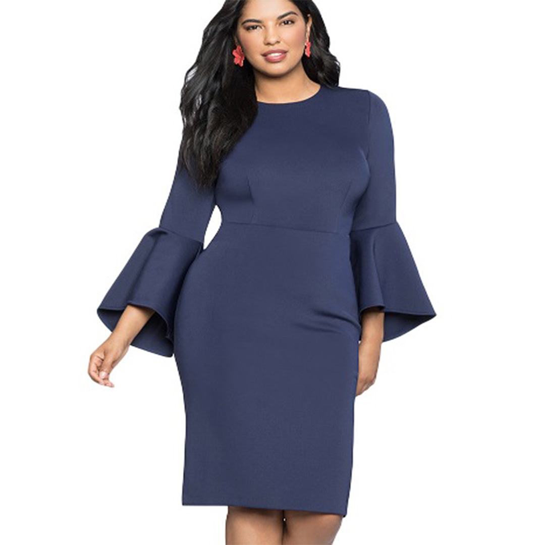 7b3abe02c55 Women Knee Length Bustier Party Cocktail Plus Size Bell Sleeve Dress – Navy  Blue