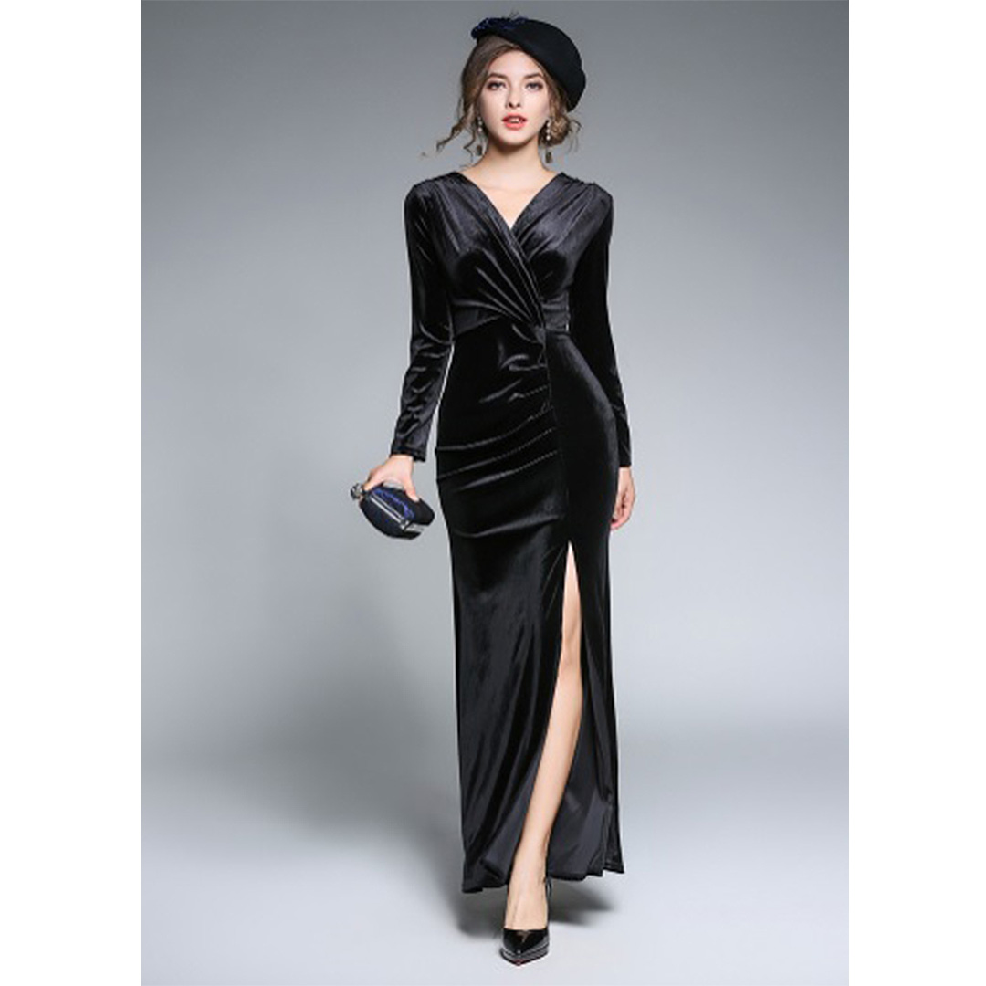 6a1f97b1e77 Long A Line Front Slit Long Sleeve Party Evening Black Velvet Dress ...