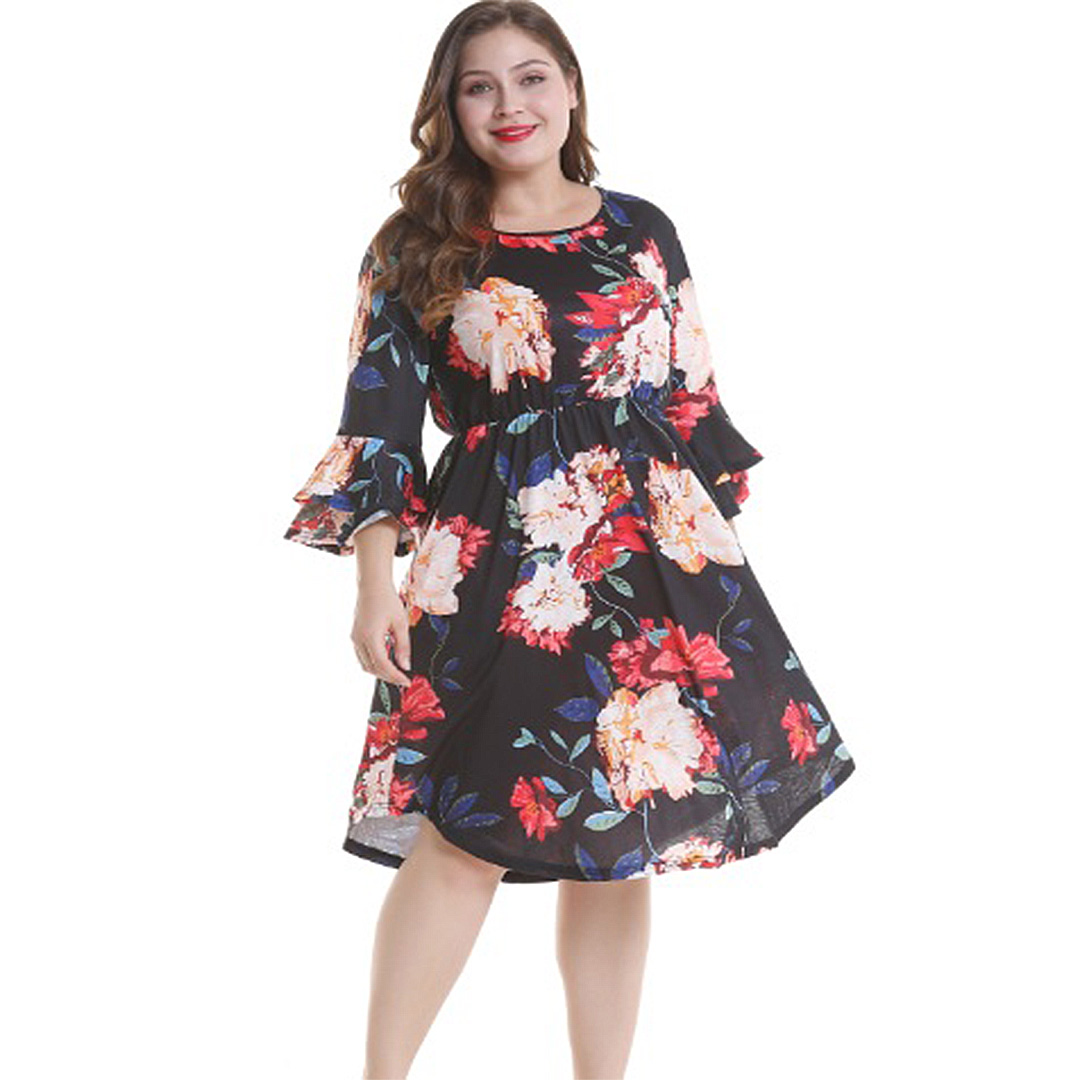 97299050b75 Women Plus Size Black Floral Print Ruffle Tiered Bell Sleeve A Line ...