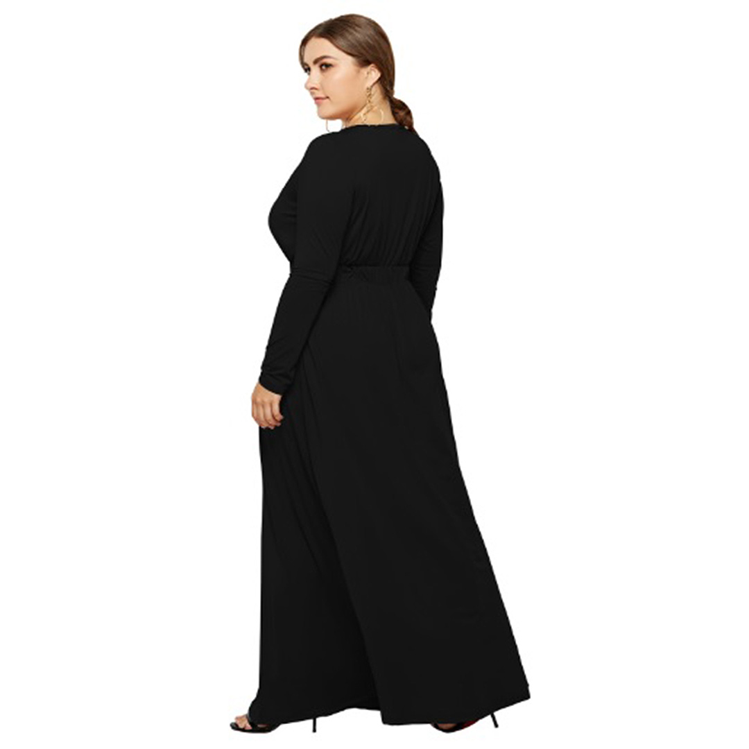 c6e3d04dd4f Women Black Keyhole Elastic Waistband A Line Long Maxi Dress With ...