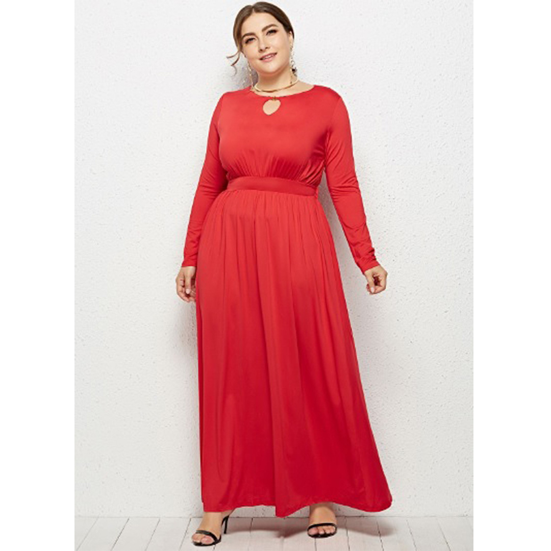 08565eae3ee Women Red High Waist Stretch Keyhole Party Cocktail Plus Size Maxi ...