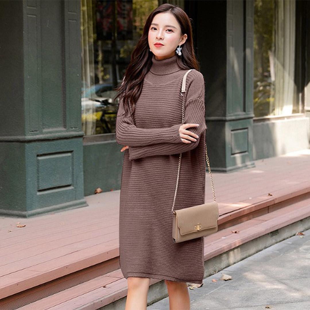 088e99b4a05d Casual Long Sleeve Knitted Women Tunic Fall Winter Dress – Brown