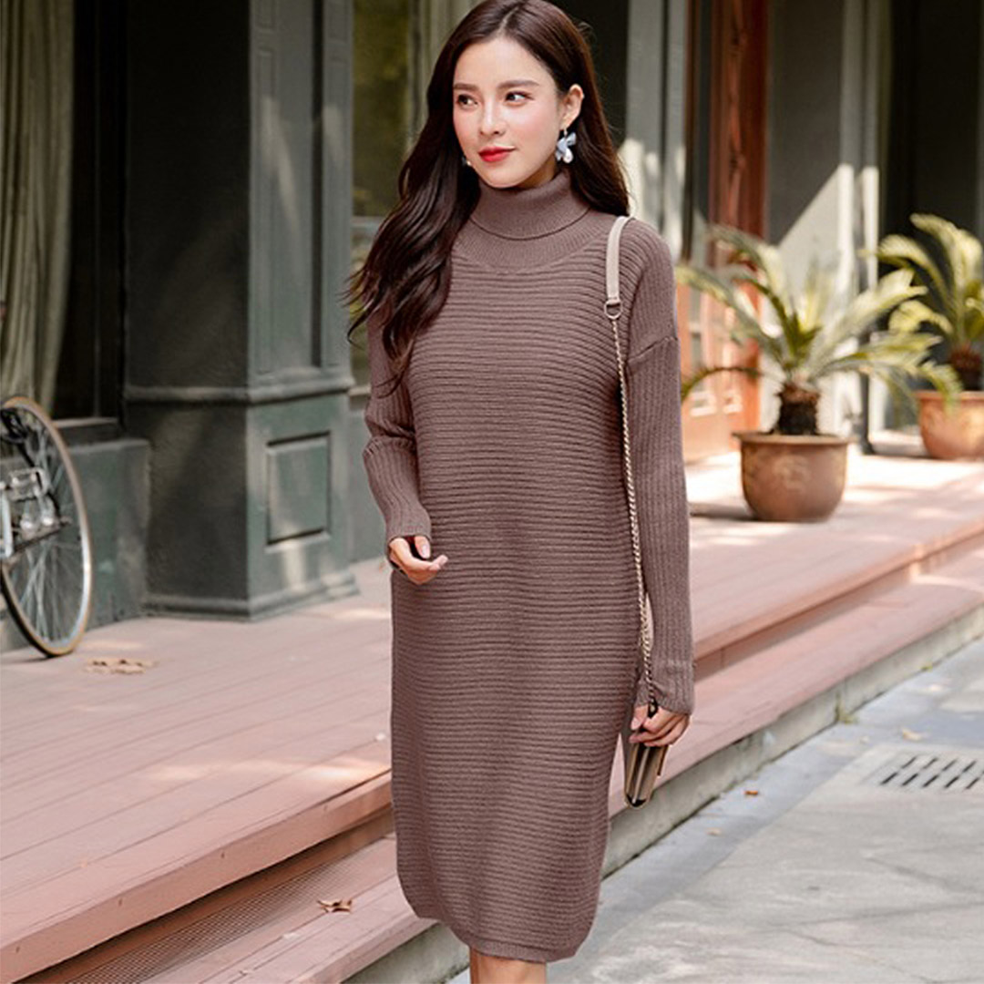 Casual Long Sleeve Knitted Women Tunic Fall Winter Dress – Brown 76b7d74dd