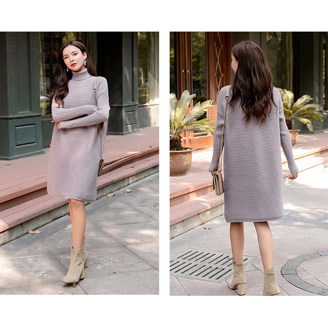 Women Fall Dress Outfits Long Sleeve Mock Neck Tunic Dress – Grey ... e8fe66bc0