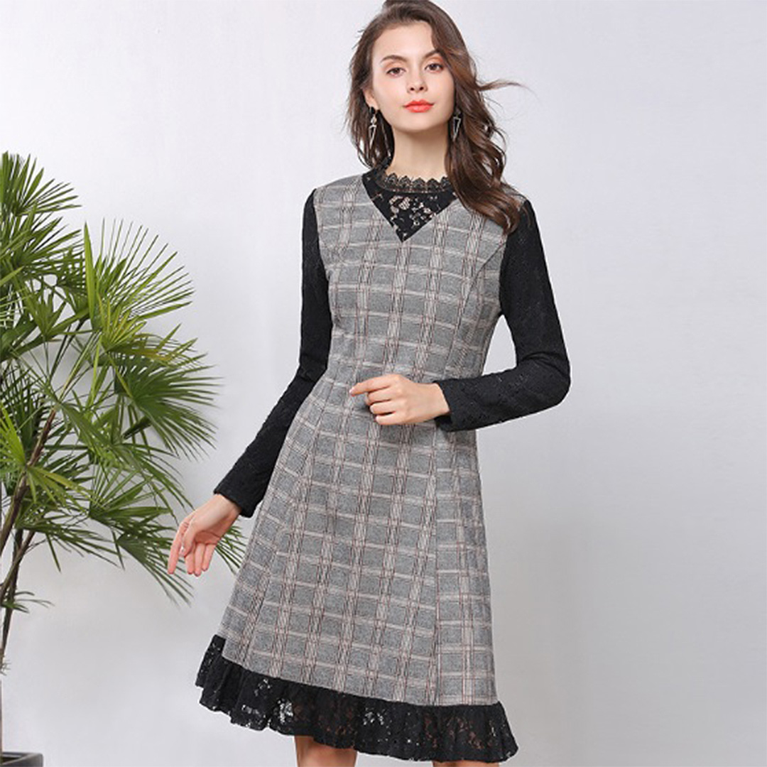 0ca22270ef984 Women Lace Insert Fall Winter A Line Plus Size Vintage Dress ...