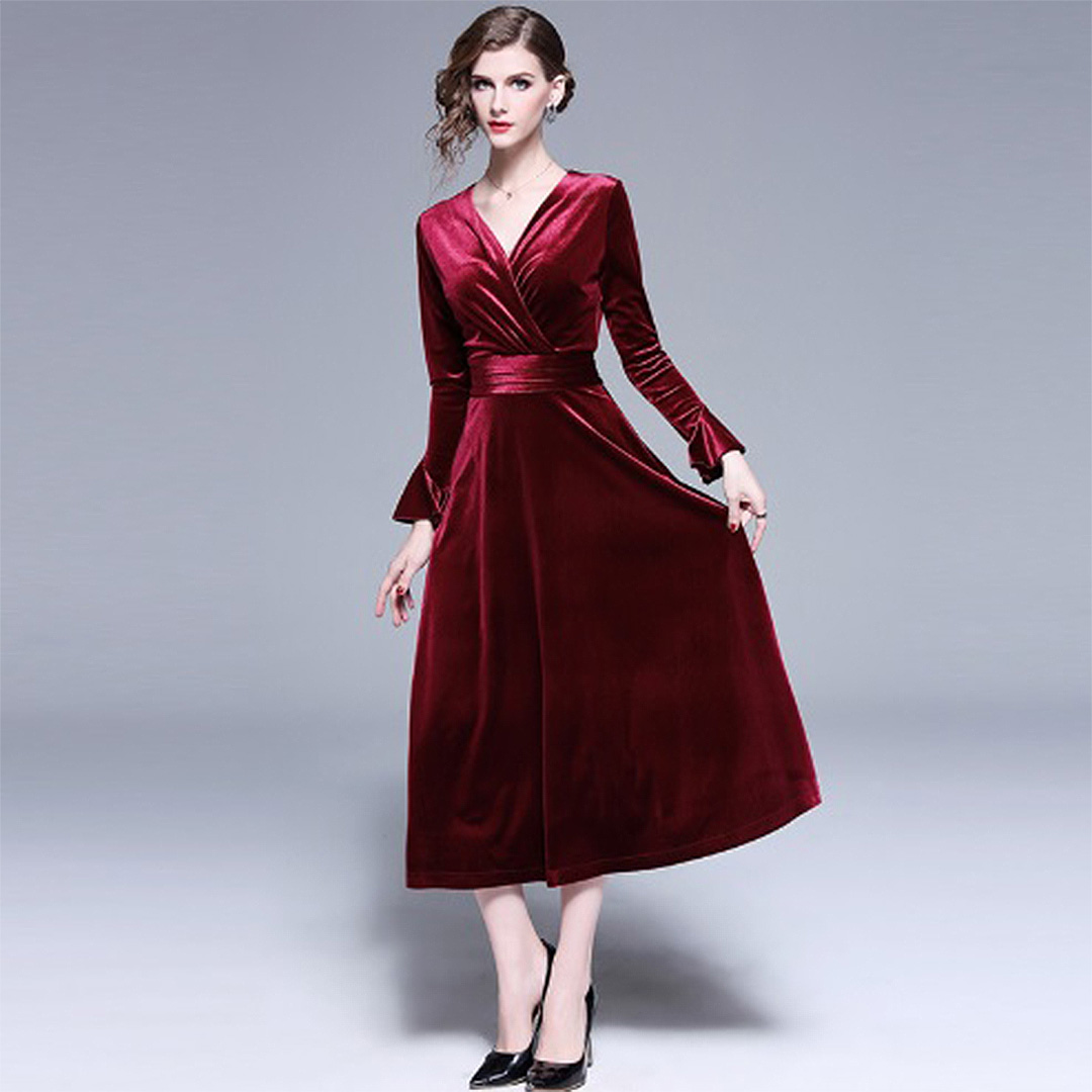 dfcd048f466a Maroon Sexy V Neck Fall Winter Long Sleeve Velvet Midi Dress ...