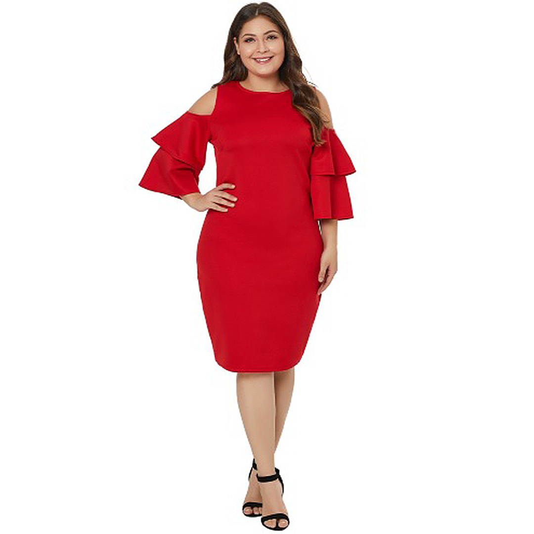 Women Flounce Tiered Ruffle Sleeve Plus Size Bodycon Club Dress ...