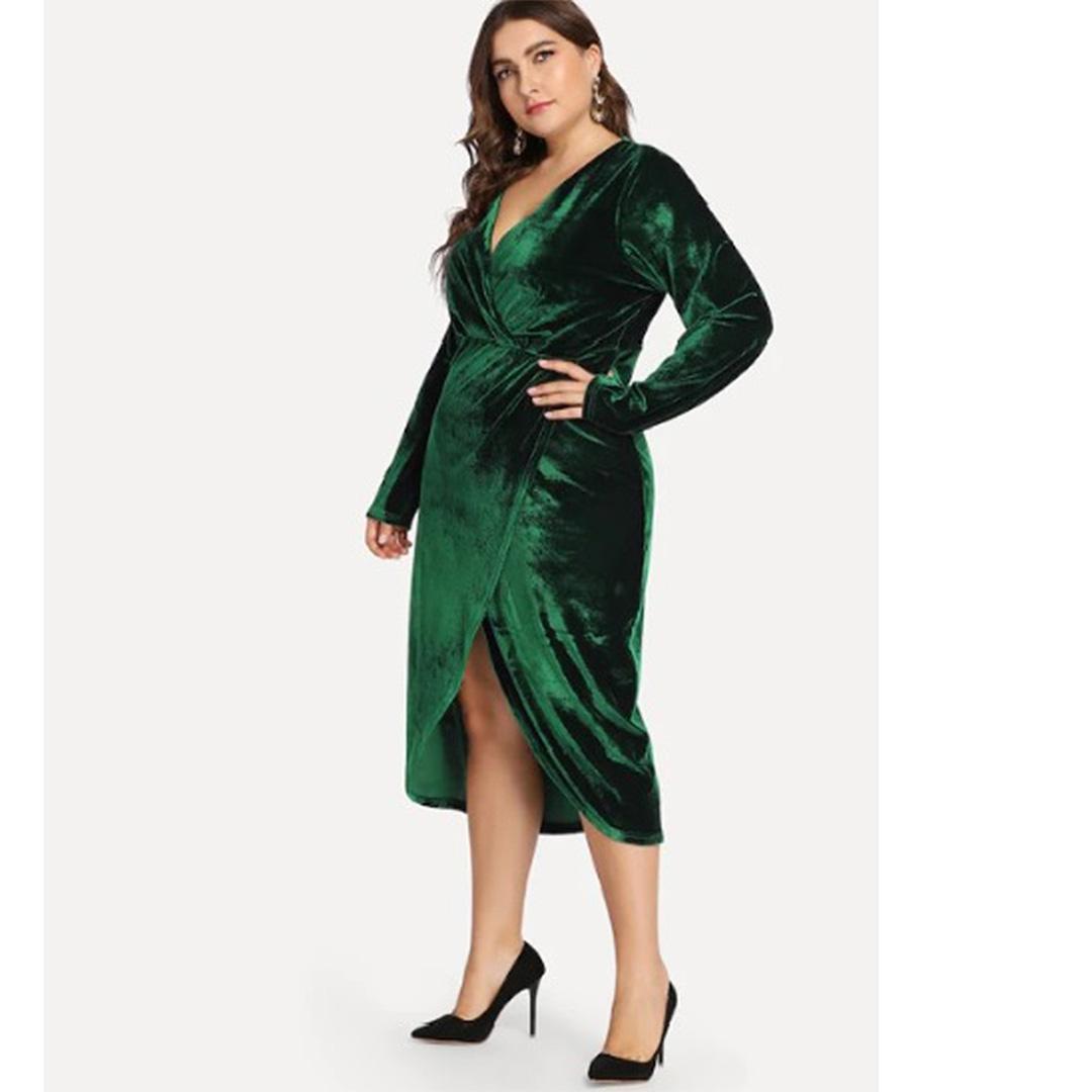 Women Green A Line Midi Long Sleeve Plus Size Velvet Dress – Apricus ...
