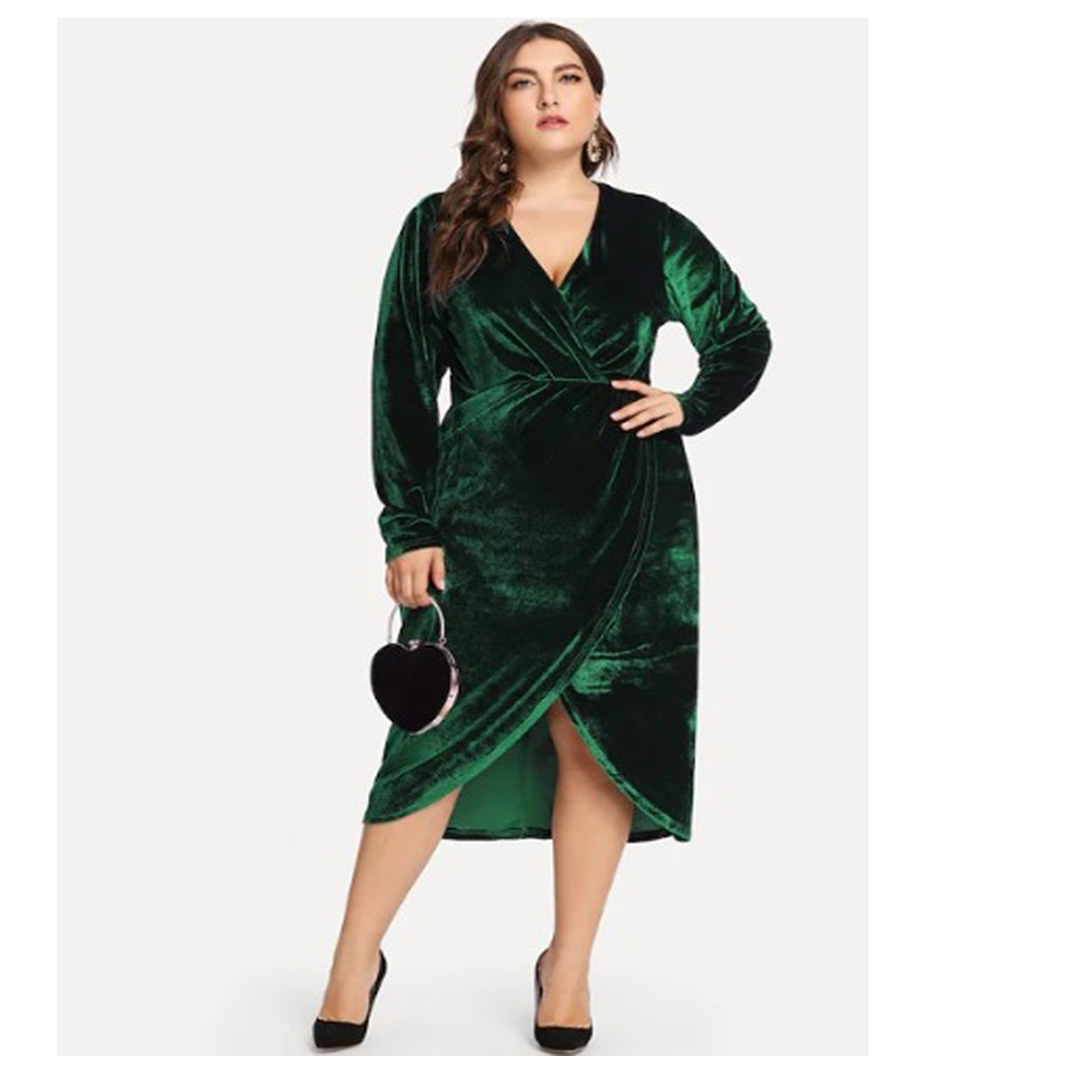 Women Green A Line Midi Long Sleeve Plus Size Velvet Dress – Apricus ...