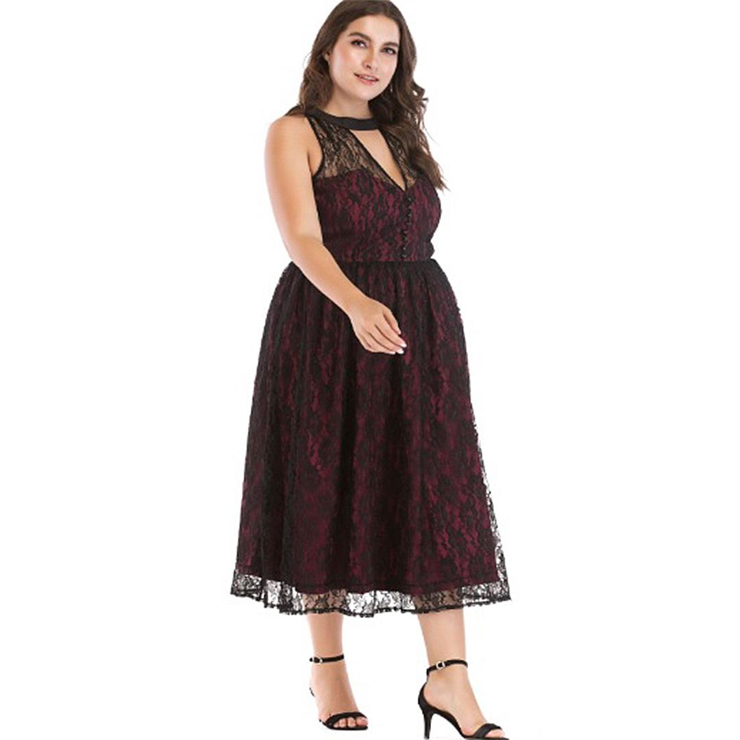 Plus Size Women Maroon Vintage Lace Sleeveless V Neck A Line Midi ... ba7a161fc