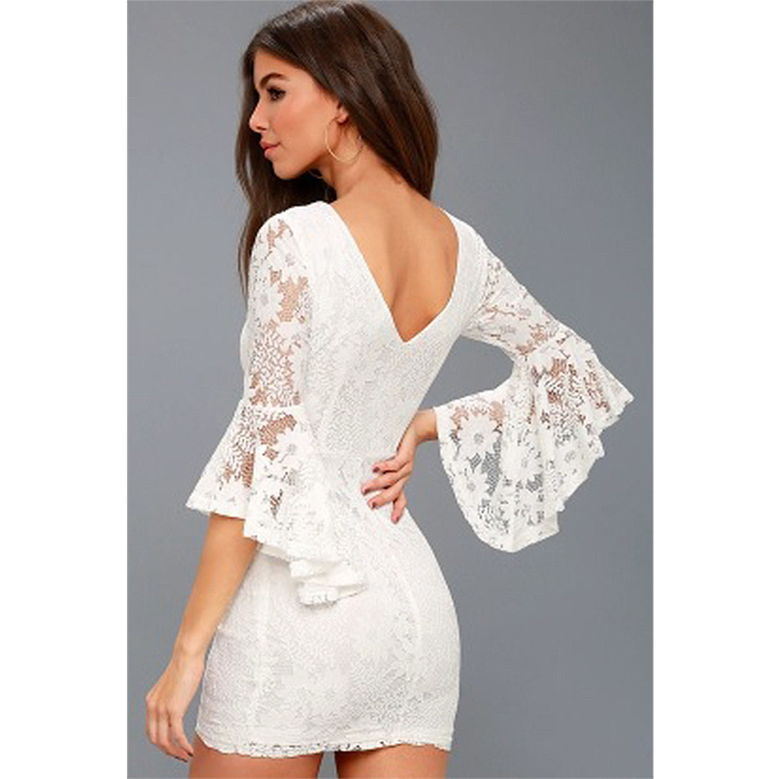 ee116f8c8b56 Women Floral Bustier Clubwear Party Bell Sleeve Lace Bodycon Mini ...