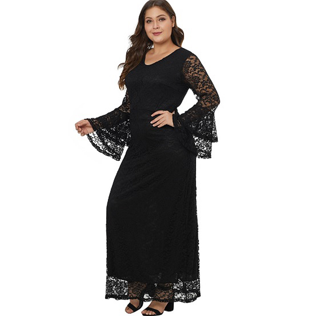 Plus Size Women Black Bell Sleeve Sheer Lace Maxi Dress – Apricus ... 99f455c58