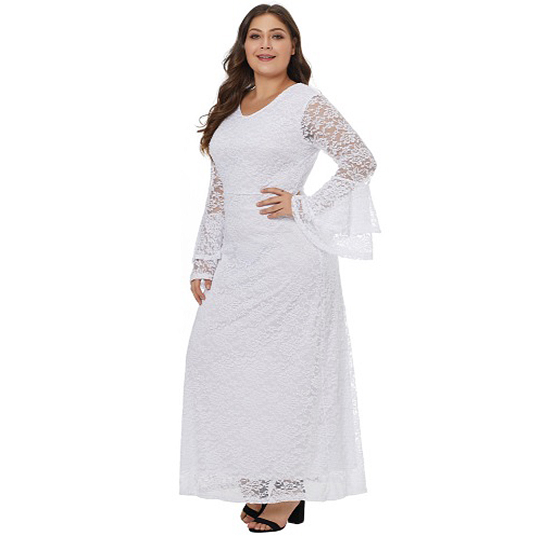 White Floral Lace Long Sleeve Evening Wedding Prom Plus Size Maxi ... c267456cf
