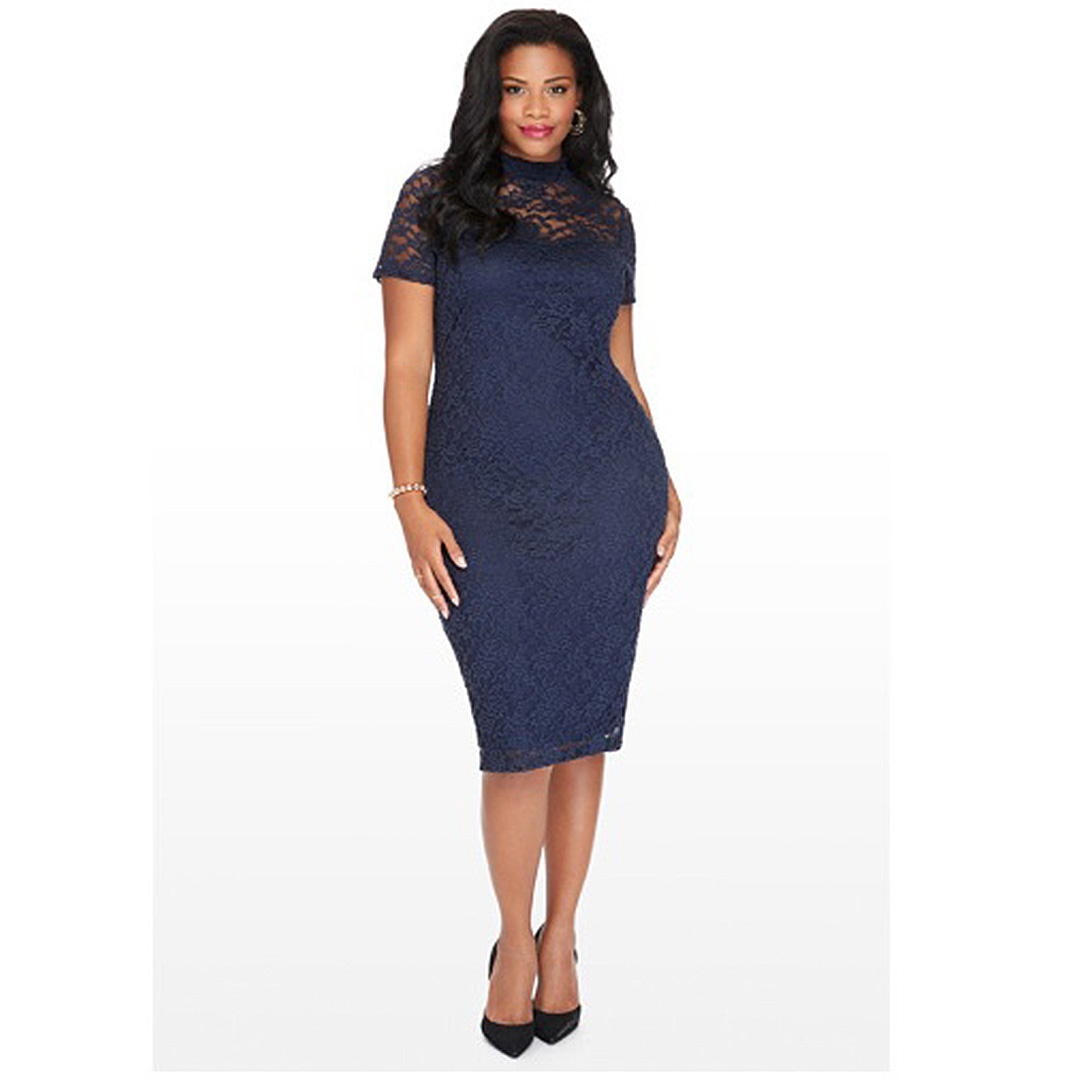 41d6ca8765 Women Navy Blue Floral Lace Bustier Plus Size Sheath Dress with ...