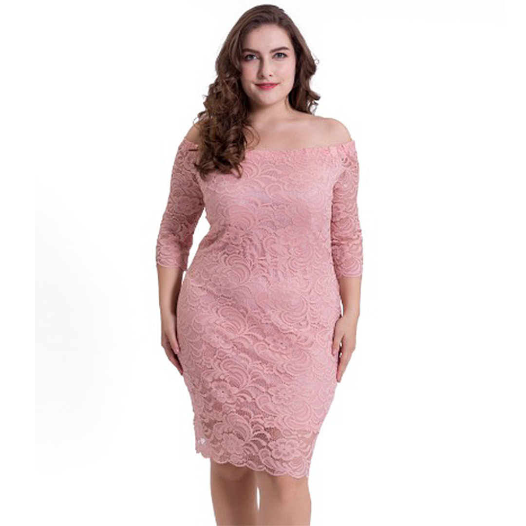 cf96aad1a2e Women Lace Up Sexy Off the Shoulder Plus Size Bodycon Dress ...