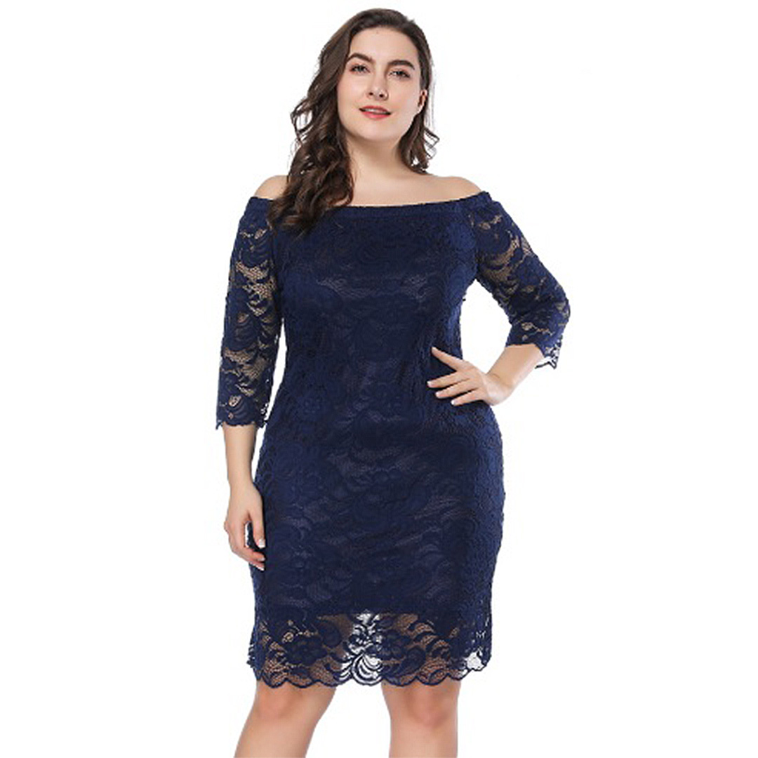 03d855720db Women Lace Up Sexy Off the Shoulder Plus Size Bodycon Dress .