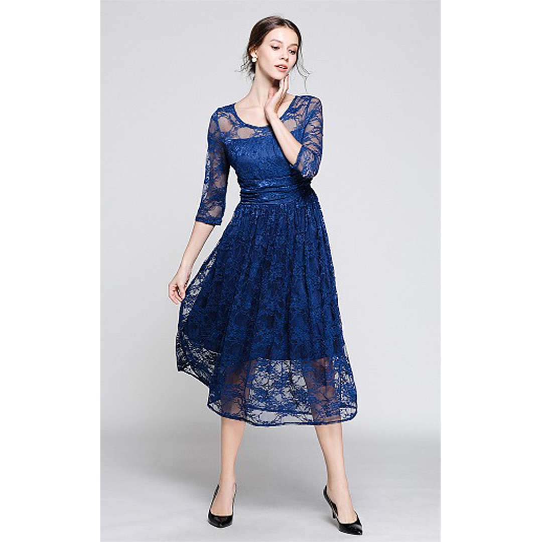 Women Navy Blue 3 4 Sleeve Midi A Line Lace Vinatge Floral Dress