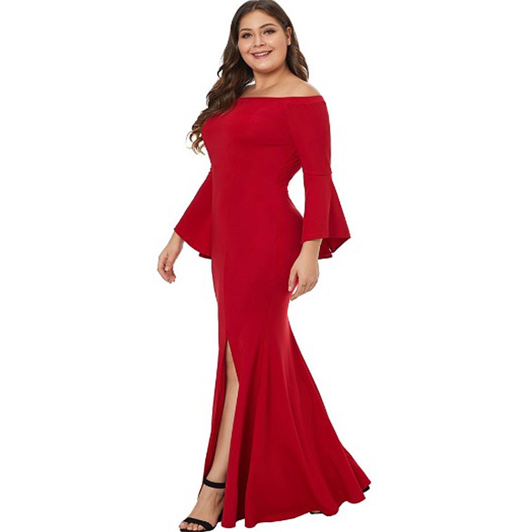 6f9fc603b9 Plus Size Women Sexy Off the Shoulder Formal Evening Long Maxi Dress ...