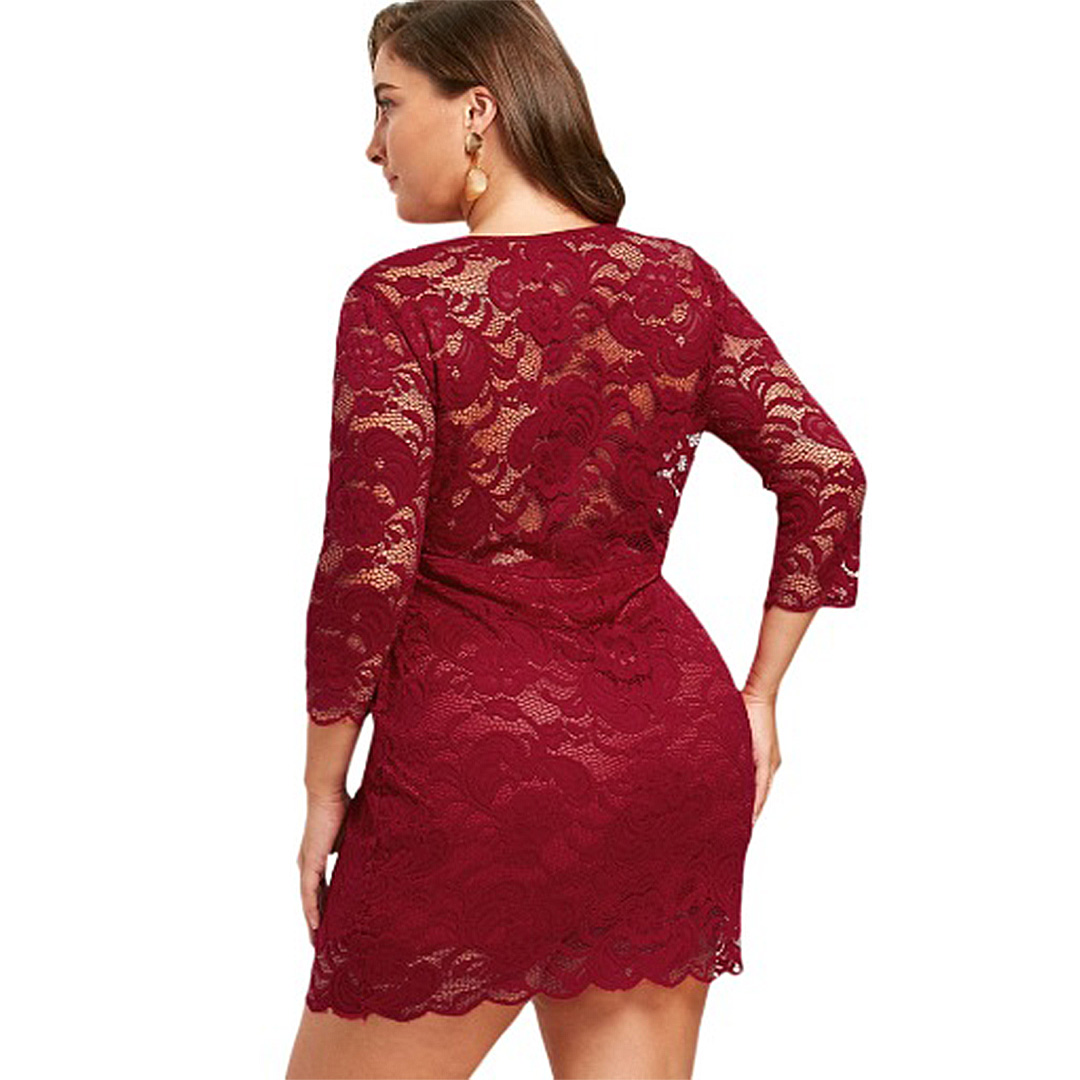 Women Plus Size Bodycon Floral Lace Cocktail Clubwear Mini
