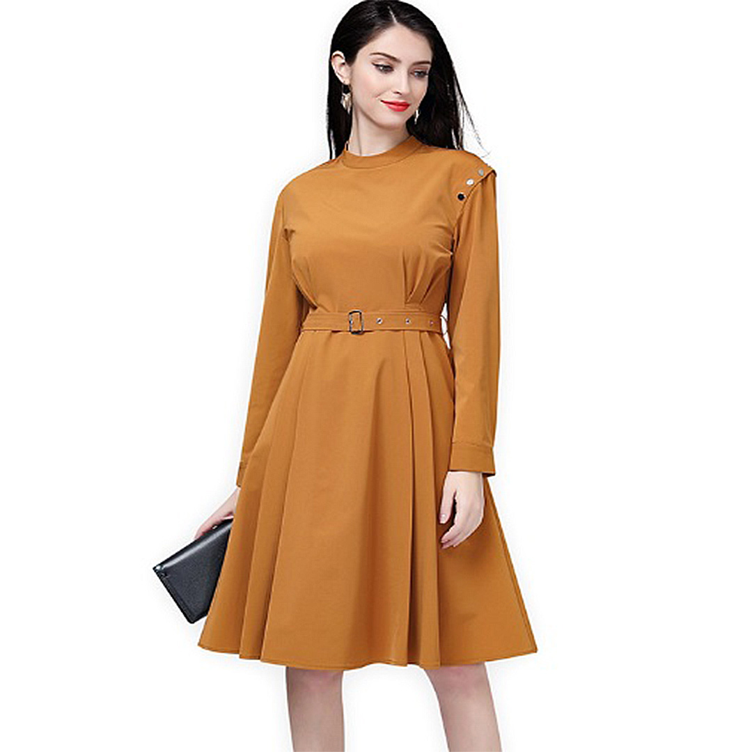 Women Brown High Quality Plus Size Long Sleeve Mock Neck Work Dress ...