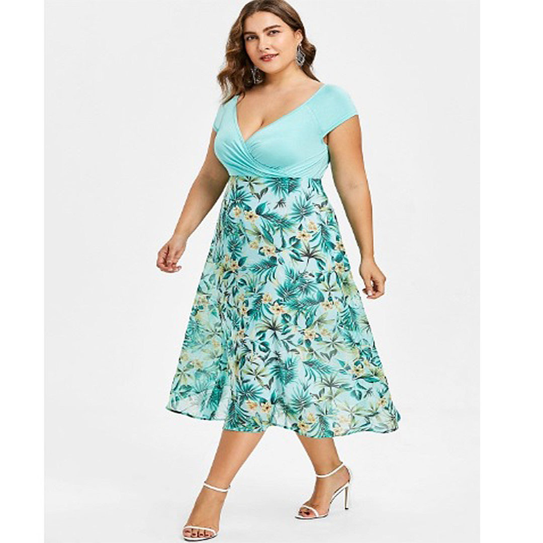 Women Cap Sleeve Floral Fit and Flare Plus Size V Neck Midi Dress