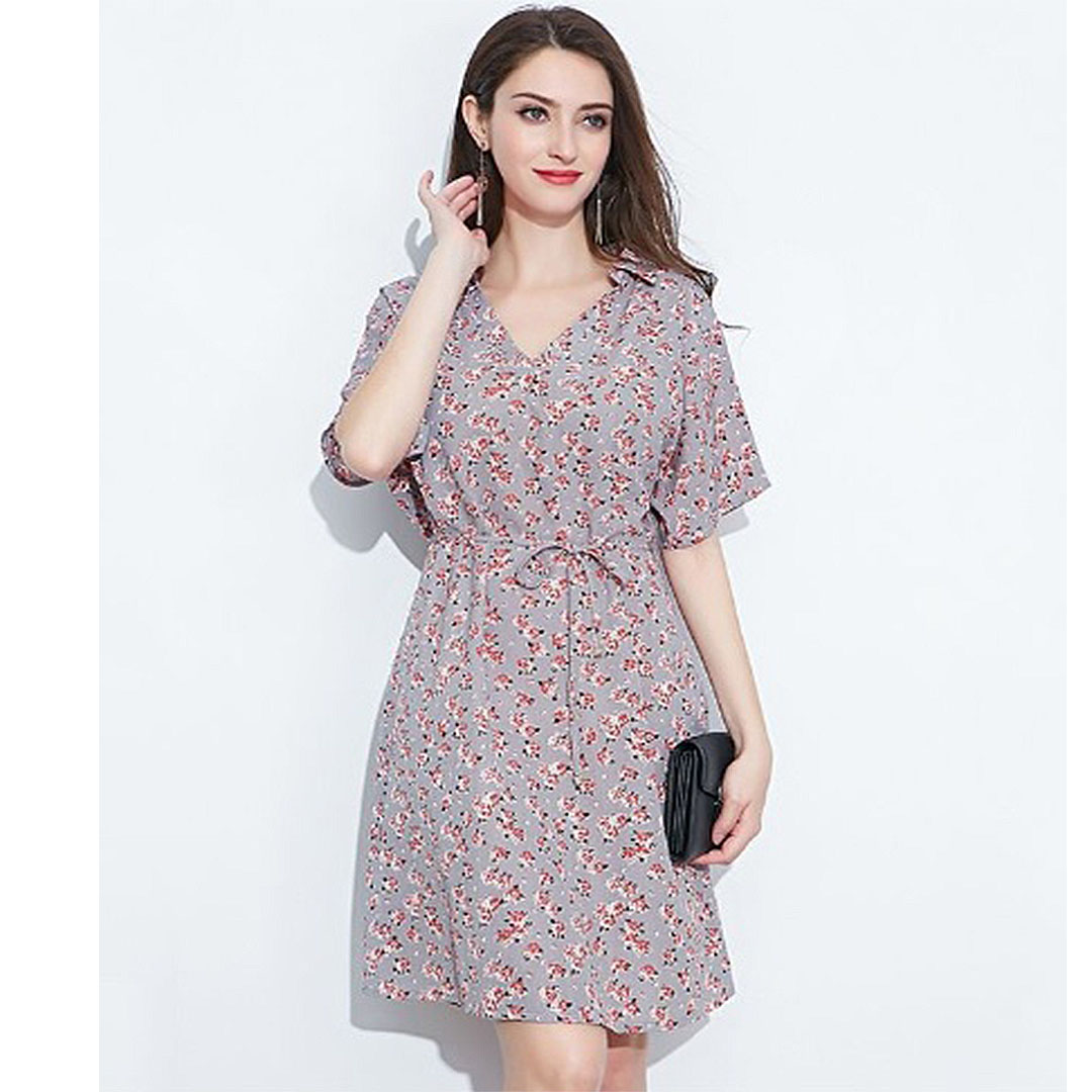 Women Purple Casual Party Summer A Line Collared Floral Dress with Sleeves