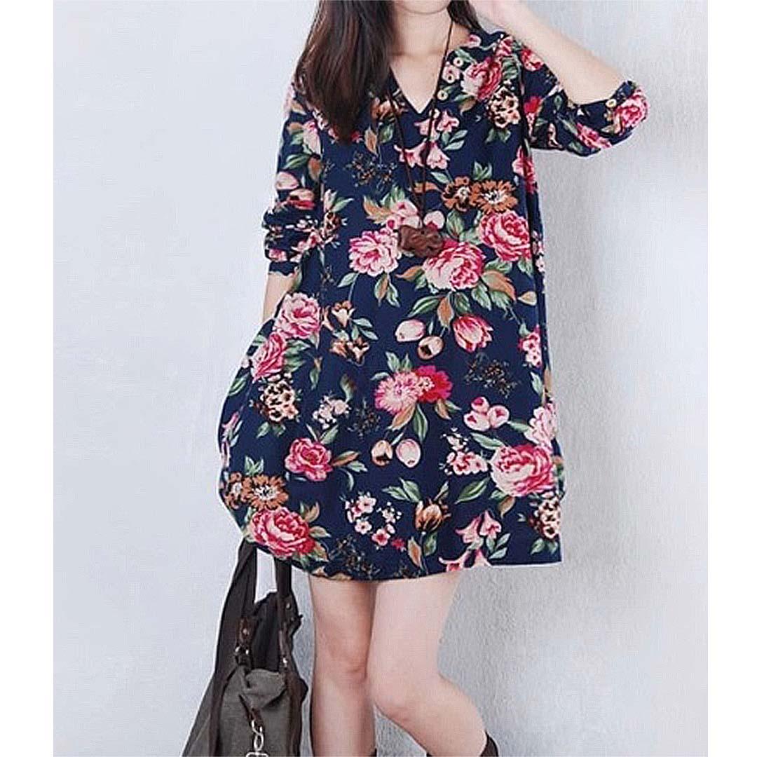 1eb234059c Summer Women Floral Vintage Loose Oversize Linen Mini Dress ...