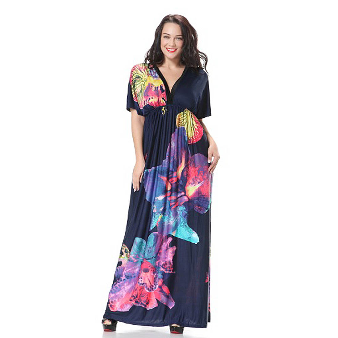 Plus Size Navy Blue Casual A Line Party Beach Bohemian Maxi dress ...