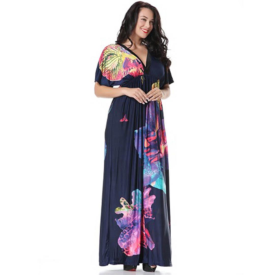 Plus Size Navy Blue Casual A Line Party Beach Bohemian Maxi dress