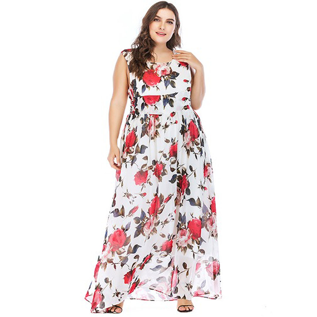 63b4778b9f Plus Size Summer Spring Chiffon A Line Sleeveless Floral Maxi Dress ...
