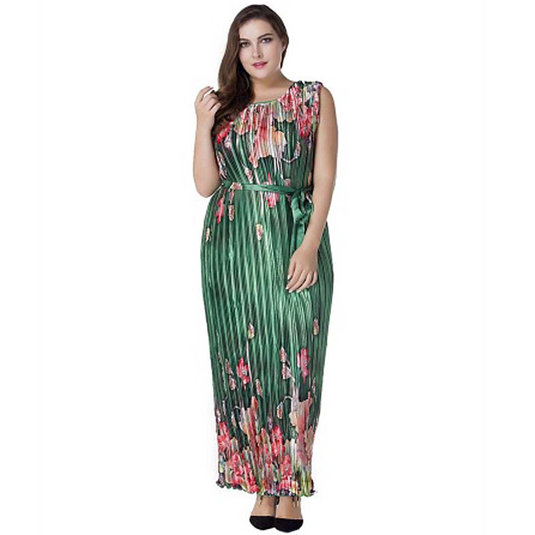 Plus Size Women Green Floral Party Evening Long Maxi Pleated Dress