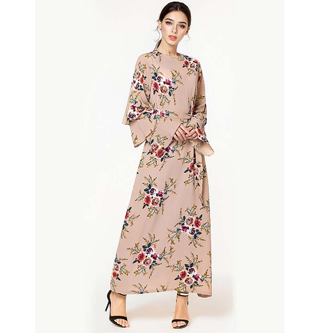 Plus Size Women Tiered Sleeve Belted Wedding Guest A Line Islamic Dresses